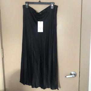 Satin long black skirt